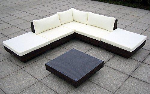 Baidani Gartenmöbel-Sets 10c00002.00002 Designer Rattan Lounge Sunqueen, 1 Sofa, 1 Beistelltisch mit Glasplatte, braun - 4