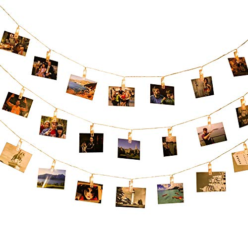 Lichterkette Fotoclips LED Fotolichterkette Bilder Foto Karten Weihnachten Party Wohnung Deko Wohnzimmer Schlafzimmer 40 LEDs mit Fernbedienung Timer 6m Warm 8 Modi Batteriebetriebene