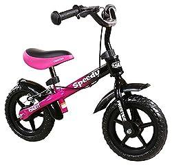 Kinderlaufrad 10-Zoll-Räder mit Bremsen und Klingel, Laufrad Kinderrad Fahrrad Lernlaufrad Kinderlaufrad für kleine Abenteurer ab 3 Jahren, SPEEDY M (PINK-BLACK)