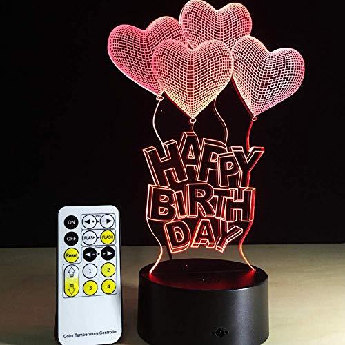Alles Gute Zum Geburtstag Geschenk Liebe Ballon 3D Licht Led Tischlampe Acryl Nachtlicht Mit 7 Farbwechsel Fernbedienung Touch Schalter Lava Lampe