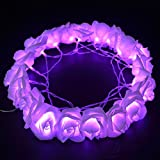 E-Plaza LED Fairy String Lights Battery Operated 20 LED Rose Flowers on 2M Transparent Cable 2 Working Modes for Bedroom Vase Party Garden Christmas Birthday (Purple)