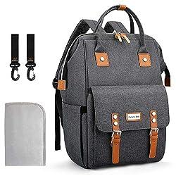 Pomelo Best Baby Wickelrucksack Wickeltasche mit Wickelunterlage und Kinderwagen Haken für Mama und Papa Unterwegs (Dunkelgrau)