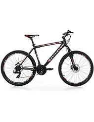 "Moma - Bicicleta Montaña Mountainbike 26"" BTT SHIMANO, aluminio, doble disco y suspensión, M (1,55-1,69m)"