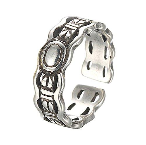 Meigold Vintage Ring offen Ring Einstellbar Welle Herz Kette Zirkon Ring Damen Schmuck Thai Silber Antik Silber