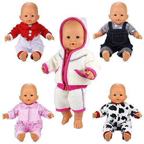 Miunana 5 PCS Abiti Vestiti Tuta Alla Moda Per 36 CM - 42 CM (14 Pollici - 16 Pollici) Baby Dolls Bambola Bebé E Altre 36 CM - 42 CM (14 Pollici - 16 Pollici) Bambole