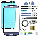 ACENIX® Frontglas Ersatzglas für Samsung Galaxy S3 Blau mit 17-teiligem Ersatzset
