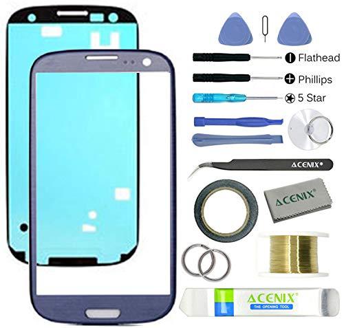 Acenix vetro frontale esterno schermo di ricambio Lens kit di riparazione per Samsung Galaxy S3blu con kit di 17pezzi di ricambio