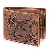 ec92a82809c4d Geldbörse Leder Braun Anker Kompass Motiv Maritim - Geldbeutel  naturbelassen Querformat 12