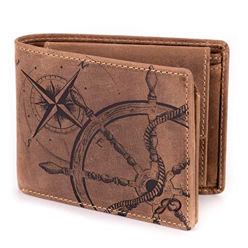 047b561dfbd0d Geldbörse Leder Braun Anker Kompass Motiv Maritim - Geldbeutel  naturbelassen Querformat 12