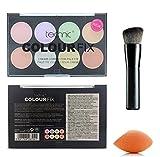 Technic 8 Colours Colour Fix Cream Corrector/Contour Palette + LyDia® Black Angled Contour Brush + LyDia® Mini Beauty Sponge Blender