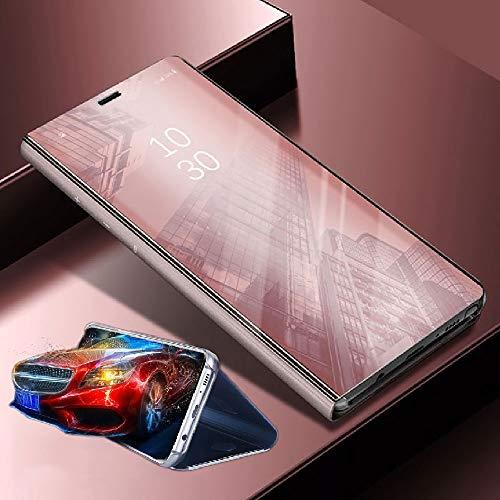 Wigento Für Xiaomi Poco Pocofone F1 Clear View Spiegel Mirror Smartcover Pink Schutzhülle Cover Etui Tasche Hülle Case Wake UP Funktion