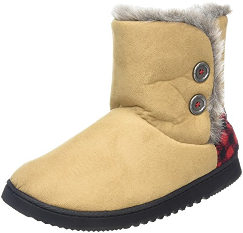 Dearfoams Two-button Boot With Memory Foam, Chaussons femme Beige (Desert 00288)