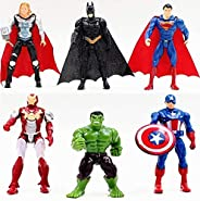 6pcs Sets Superhero Avengers Iron Man Hulk Captain America Superman Batman Action figures Gift Collection of C