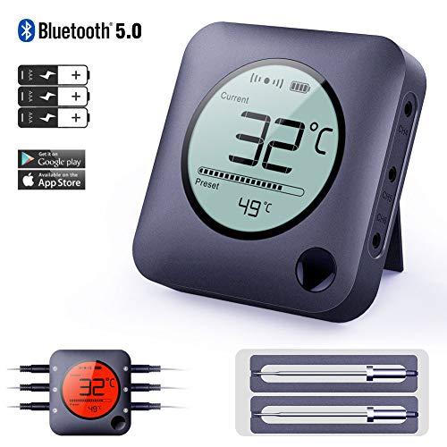 Bfour Grillthermometer, Fleischthermometer Bluetooth Steak Thermometer Bratenthermometer Großes Display mit Hintergrundbeleuchtung 2 Sonden Haushaltsthermometer für Küche Grill