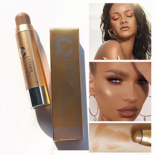 Gaddrt Foundation-Creme Neue Frauen Highlight Contour Stick Beauty Makeup Gesichtspuder Creme Schimmer Concealer Markieren Pulver-Stick Wasserdicht und langlebig (C)