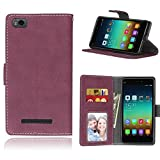 Sangrl Cover per Xiaomi Mi 4i / Mi 4C, Book Style PU Pelle Custodia Ultra Slim Protettiva Cover Retro Frosted Custodia in Pelle Flip Case Rosa Rossa