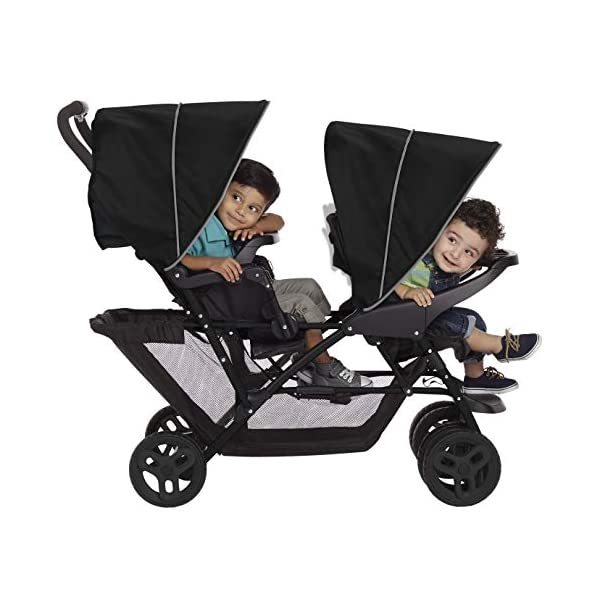 Graco Stadium Duo Click Connect Tandem Pushchair, Black/Grey Graco Compatible with all graco click connect car seats, which can be easily added to the tandem chassis with just one click. Folded-Length:66cm, Height: 109cm Convenient one-hand standing fold, featuring an automatic storage latch that folds effortlessly. Maximum weight capacity is 15 Kg. Stadium-style seating positions with slightly higher rear seat, so that both children can see the world around them 5