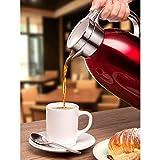 QAQ Kessel 304 Edelstahl Doppelschicht Vakuum Isolation Kaffeekanne Haushalt Große Kapazität 1800Ml,Red,1800Ml Test