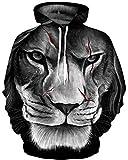 Ocean Plus Herren Bunt Langarm Aufdruck Hoodie Katze Wolf Tiger Kapuzenpullover Pulli mit Kaputzen Casual Cool Sweatshirt (XXL/3XL (Brustumfang: 126-146CM), Narbe Löwe)