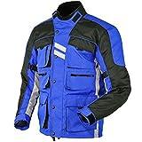 Hommes Moto Jacke Veste Blouson En Cordura Imperméable Motorcycle Jacket, Bleu, M...