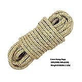 100% Natürliche Seile - FLYFISH 6mm Dicke Hanfschnur Naturseil, Jute Seil Schärpe, Camping Seil, Garten, Bootfahren, Tauziehen, Haustiere, Kletterseil, Mehrzweck Utility Sisal Twine Seil (30 m)