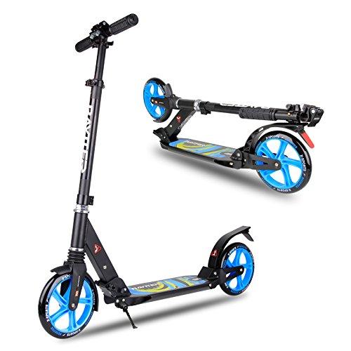 BAYTTER® faltbar Kinderscooter Cityroller Roller aus Aluminium für Kinder ab 8 Jahre und Erwachsene, Lenker in der Höhe verstellbar, Scooter big wheel mit Sicherungsklemme