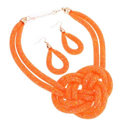 Jerollin Damen Suess Halskette aus Lila Netz Berechnen Bling Kristallen Perlen Knoten Kette Statement Ohrringe Set