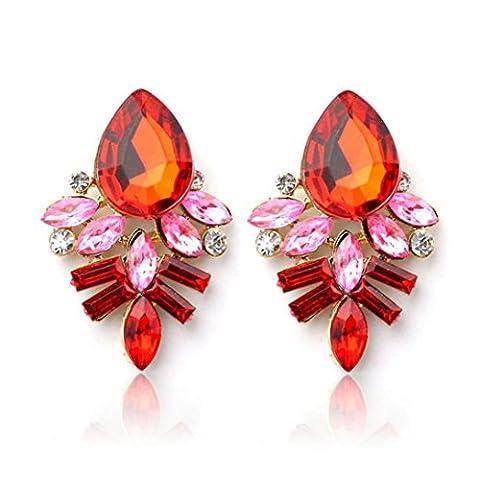 Ohrringe, Oyedens Mode Damen Dame Strass Kristalltropfen Legierung Ohrstecker Ohrringe (Rot)