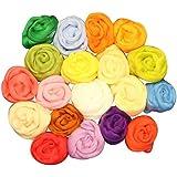 Paquete de madejas de estambre para fieltrar en seco en 20 colores diferentes, por Kurtzy TM