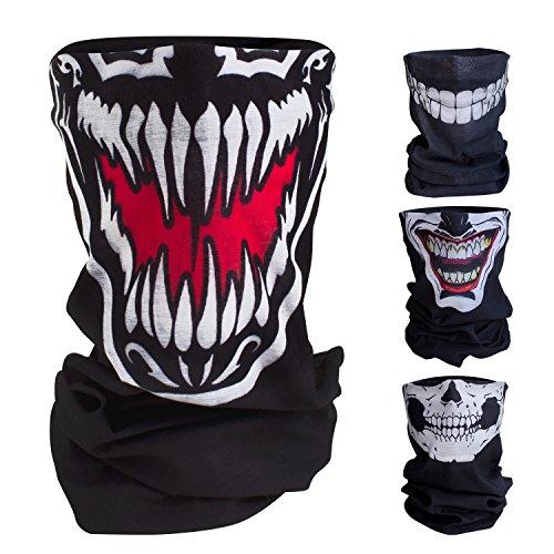 Qualitatives Multifunktionstuch / Motorrad Totenkopf Maske / Face Shield / Sturmmaske - fürs Fahrrad / Ski / Snowboard / Paintball / Klettern / Wandern - [Venom / schwarz]