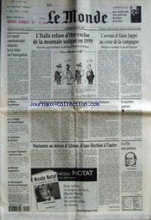 MONDE (LE) [No 16250] du 25/04/1997 - L'ITALIE REFUSE D'ETRE EXCLUE DE LA MONNAIE UNIQUE EN 1999 - L'AVENIR D'ALAIN JUPPE AU COEUR DE LA CAMPAGNE - LE CONSEIL CONSTITUTIONNEL RETOUCHE LA LOI DEBRE SUR L'IMMIGRATION +¼ PEROU - LA POLEMIQUE - LA VICTOIRE DE GERARD PAQUET - SECHERESSE PERSISTANTE - EMPIRE MURDOCH - MONSIEUR FILS - REFORME HOSPITALIERE - MISSIONNAIRE DE L'ART AU NICARAGUA - WASHINGTON-HOUSTON-MOSCOU - LA CHASSE AU TRESOR DES ROMANOV PAR SYLVIE KAUFFMANN - LE MYSTERE GAM