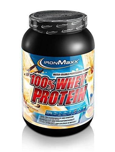 IronMaxx 100% Whey Proteinpulver / Vanille Eiweißpulver Whey für Proteinshake / Wasserlösliches Proteinpulver mit French Vanilla Geschmack / 1 x 900 g Dose Pre-post-workout-protein