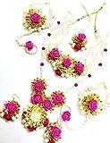 Best Necklace Set Of 2 - Tingoking Floret Jewellery Pink Gota Patti Flower Jewellery Review