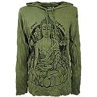Guru-Shop, Sure Long Sleeve Shirt, Hoodie Meditation Buddha, Olive, Cotton, Size:XL, Printed T-Shirts