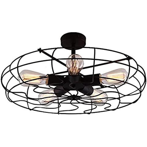 Baycheer Lámpara de techo con ventilador, estilo industrial, 5cabezales E27