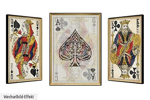 KunstLoft® cuadro lenticular 3D 'Comedia de las Cartas' 63x83cm | Cuadro hecho a mano con aspecto vintage | Cartas rey reina as | Imagen pared lenticular con marco