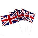 VORCOOL 50pcs Union Jack Hand Waving Flag Royal Jubilee UK GB Great Britain Flags