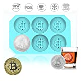 AOLVO Ice Cube Tabletts Bitcoin Form, Juice Schokolade Form Flexible Lebensmittelechtes Silikon Ice Makers schwarz für Cocktails Whiskey Sommer Party Kaffee blau