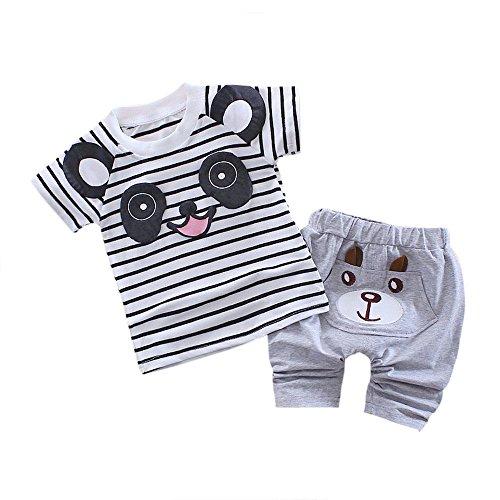 OSYARD Baby Jungen Kurzarm Bekleidungssets, Kleinkind Kinder Baby Jungen Panda T-Shirt Tops Shorts Hosen Outfit Kleidung Set,Neugeborene Niedlich Karikatur Ärmellos Blusen Haremshose Pants für Sommer