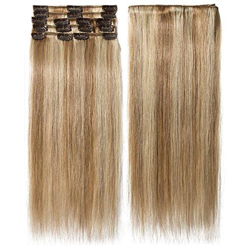 Extension capelli veri clip mèches 8 fasce remy human hair extensions clip lisci lunga 20 pollici 50cm pesa 70grammi, #12/613 marrone chiaro/ biondo