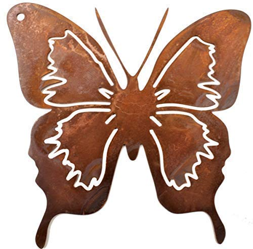 Rostikal | Schmetterling zum hängen, Rost Deko Anhänger | Fensterdekoration Garten Frühling Edelrost | 12 cm | 1 STK. -
