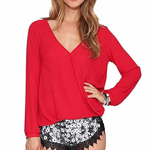 QIYUN.Z Shirt Sexy Femmes Manches Longues Col V Profond Mousseline Couleur Unie Blouse Tops Rouge