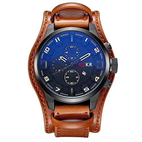 Herren Uhr KZKR Leder Armbanduhr Analog Quarz Uhren Braun Schwarz Herrenuhr mit Datum Funktion (Braun)
