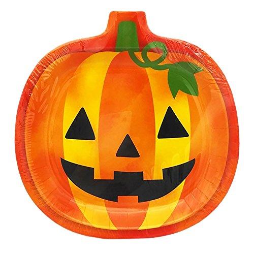 Halloween Teller, Outgeek 6 PC Papier Teller Halloween Kürbis Abendessen Platte mit 20 Zählpapier ()