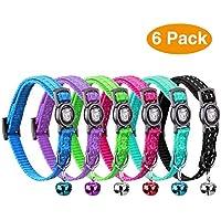 VACNITE Verstellbarer Katzenhalsband mit Glocke, reflektierendem Gurt, Sicherheitsschnellverschluss, geeignet für Katzen und kleine Hunde (6er Pack)