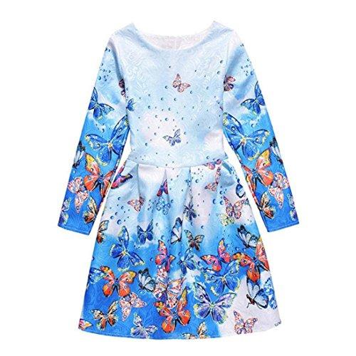 Covermason Kinder Mädchen Kleider, Langarm Blumen Drucken Prinzessinkleid (160 (8-9 Jahre), Blau)