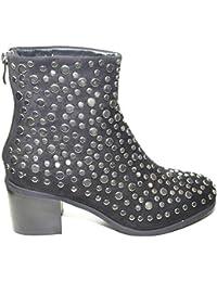 04f7ee87e11d6a Malu Shoes Tronchetto Donna Nero Tacco Largo Comodo Linea Luxury borchioni  schiacciati Allacciatura con Zip Retro