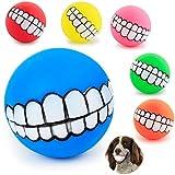 3 Stück Lustige Hunde Quietschspielzeug Ball Gebiss-Muster Kauen Hundeball aus Naturgummi Weich Hundespielzeug Ball Wasser Hundespielball Bälle für Welpen Klein Große Hund Zufällige Farbe