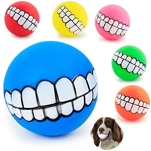 Saulayct g4352 3 Stück Lustige Hunde Quietschspielzeug Ball Gebiss-Muster Kauen Hundeball, Klein Große Hund Zufällige Farbe -
