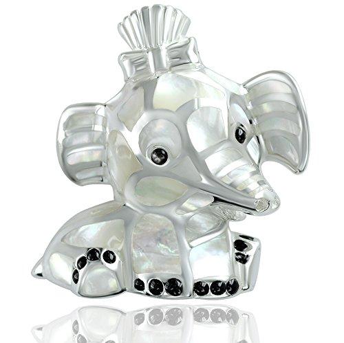 DTP Silver - Colgante de Mujer en Forma de Elefante 28 x 30 mm - Plata de Ley 925 y Madreperla